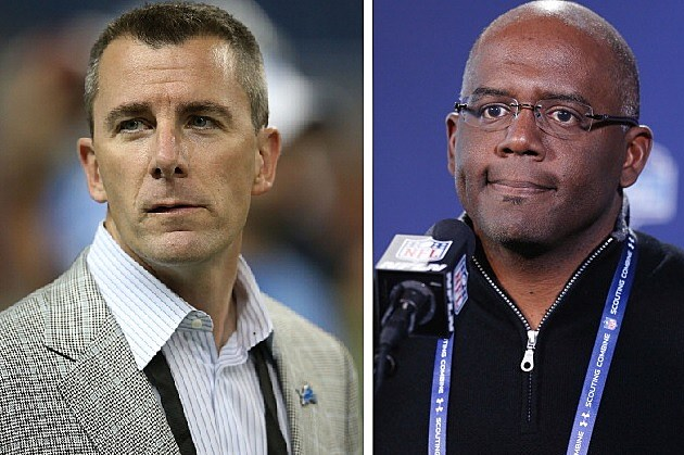 Tom Lewand (left) and Martin Mayhew have been fired by the Lions. (Getty Images)