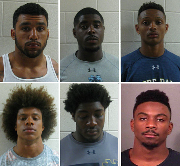 Notre Dame players , clockwise from top left: Ashton White, Dexter Williams, Kevin Stepherson, Devin Butler, Te'von Coney and Max Redfield. (Police booking photos)
